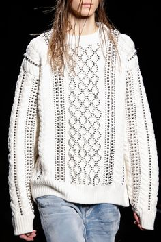 #DIY Studded Chunky Knit Sweater Inspiration // Alexander Wang Fall 2015 Ready-to-Wear - Details - Gallery - Style.com