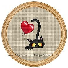 Cross Stitch Pattern PDF cat and balloon от HappyStitches4You