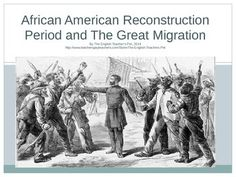 Included in this 29 slide PowerPoint Presentation are key facts, events and famous people that shaped African American social and political culture from 1866-1930- Reconstruction through the Great Migration Period. Ida Wells and W.E.B. DuBois are biographied, as well as defining the Klan, NAACP, Jim Crow Laws, education and the need for political and activist justice after the American Civil War. Maps, photos, and pictures give your students a great introduction to the period! Grades 6-12. $