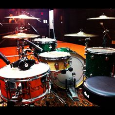 @ Studio with Cafe Con Leche:    - drums: DW Maple Collector's Series Green Glass FinishPly  - cymbals and sticks: Zildjian  - hardware: DW 9000  - drum heads: Remo  - stick holder: Danmar  - headphones: Beats by dr. dre studio