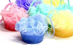 Soap Pouf on a Rope Cupcake Bath Poufs Flowering by EcoChicSoaps