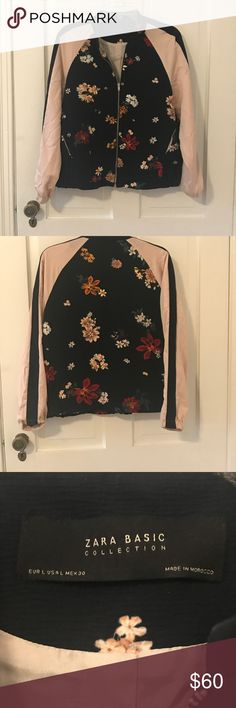 Zara floral bomber jacket Super cute bomber jacket by Zara basics collection. Dark navy with colorful flowers and rose gold sleeves. Size large. Zara Jackets & Coats