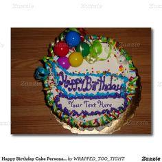 Happy Birthday Cake Personalize Postcard
