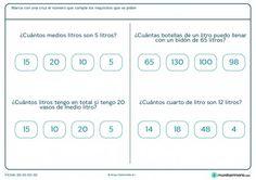 Ficha de medios litros para primaria