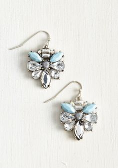 Paragon of Posh Earrings - Silver, Rhinestones, Special Occasion, Party, Bride, Vintage Inspired, Spring, Good, Blue, Wedding