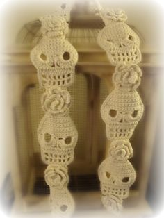 Cute Crochet Skull Scarf with Roses by WickedCrochet71 on Etsy