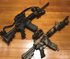 Camo Guns, Black Hawk Down, M4 Carbine, Car 15, Battle Rifle, Airsoft Gear, Military Guns, Assault Rifle, Guns And Ammo