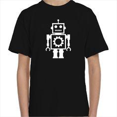 Camiseta infantil con el dibujo de un robot mecánico como aquellos juguetes vintage hechos de lata. Camiseta retro para niños con padres de alma vintage. Puedes elegir el color de la ilustración del robot haciendo que ésta sea una camiseta personalizada única.