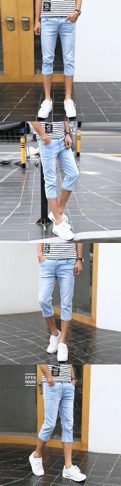 Men's Slim Fitted Short Jeans Regular Cotton Straight Calf Length Jeans Skinny Denim Shorts for Men Color Blue 901 Size 27-36 #mensjeansstraight #mensjeansfit #mensjeansskinny