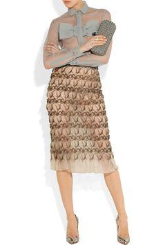 Christopher Kane Bow-front crinkled-chiffon shirtand chiffon skirt