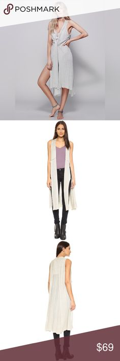 """Free People Duster Sleeveless Cardigan d e s c r i p t i o n  In a lightweight linen this sleeveless wrap cardi is featured in a maxi silhouette with exaggerated side slits. Adjustable fit and unfinished hem. Very versatile. NO TRADES.  c o n t e n t  58% linen    42% rayon  m e a s u r e m e n t s ✂️  size + s   length + 43.5""""    p a i r e  w i t h 🌙  + Ella floral top  💵 bundle for a discount Free People Sweaters Cardigans"""