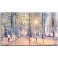 DesignArt 'Light-up Mariinsky Garden View' 4 Piece Photographic Print on Wrapped Canvas Set