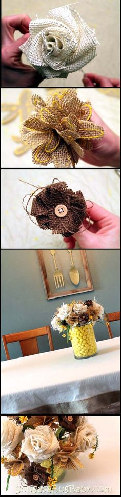 burlap flowers--Great idea for boutonnieres and corsages for groomsmen, ushers, and the family members. probably cheaper, and could be made far in advance! Also, it could be kept as a keepsake more easliy.