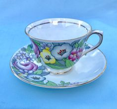 Royal Albert Bouquet Tea Cup and Saucer Set, England Bone China Bouquet Pattern, Replacement China, Mom Bridesmaid Sister Gifts under 30 Stunning Royal Albert Bone China Teacup and Saucer set in the Bouquet Pattern. A charming gift for any Grandmother, Mom, Daughter, Girlfriend,