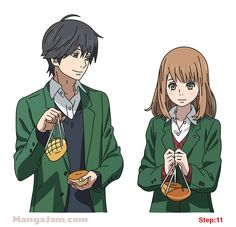 How to Draw Naho and Kakeru from Orange step 11