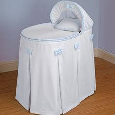 Perfectly Pretty Blue Bassinet Liner/Skirt and Hood - Size: Bassinet Cover, Baby Bassinet, Bassinet Ideas, White Bedding, Bedding Sets, Baby Room Furniture, Mattress Dimensions, Moses Basket, Baby Essentials