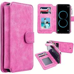 Samsung Galaxy Case, by Insten Detachable Magnetic Flip Leather Wallet Pouch Case Cover For Samsung Galaxy - Hot Pink Sony Mobile Phones, Sony Phone, Phone Case, Smartphone, Leather Pouch, Leather Cover, Galaxy S8, Samsung Galaxy, Cell Phones In School