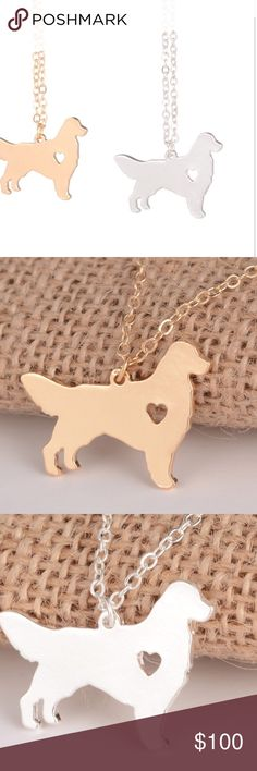 ". Golden Retriever Necklace Gold plated or silver plated 17"" let me know which color Jewelry Necklaces"