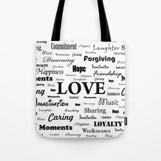 """""""Love is White & Black"""" tote bag by George Barakoukakis. Our quality crafted Tote Bags are hand sewn in America using durable, yet lightweight, poly poplin fabric. All seams and stress points are double stitched for durability. They are washable, feature original artwork on both sides and a sturdy 1"""" wide cotton webbing strap for comfortably carrying over your shoulder."""