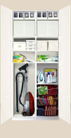 IKEA Pax system - this is what I was planning for landing with mirror doors hallway closet organization Utility Closet, Laundry Closet, Cleaning Closet, Laundry Room Storage, Laundry Room Design, Cupboard Storage, Closet Storage, Kitchen Storage, Ikea Storage