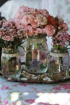 Vintage~Beautiful...add lace & pearls to glass jars, add similar color flowers, place on vintage silver tray - charming! by kinda.conger