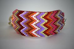 loom woven zig zag cuff by TaraBarros on Etsy, $72.00