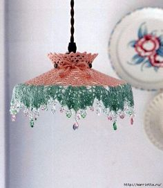 Crochet lampshade cover ♥️LCL-MRS♥️ with diagram. Lampe Crochet, Crochet Lampshade, Crochet Doilies, Crochet Lace, Crochet Bunting, Doilies Crafts, Yarn Crafts, Diy Crafts, Deco Luminaire