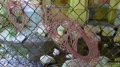 Knitta Please! Brooklyn Craft Gang Tags in Prospect Park - guerilla knitting / fence yarn bomb