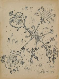 E. Besozzi pitt. 1959  Forme china su carta cm 40x30 arc. 370