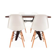 Rectangular Dark Gueridon Wood Dining Table&4 DSW Chair Set Prouve & Eames Style #FurnitureSourceWorldwide #MidCenturyModern Eames Chairs, Upholstered Chairs, Dining Furniture Sets, Dining Sets, Overstuffed Chairs, Home Hacks, Kitchen Layout, Dining Table, Interior Design