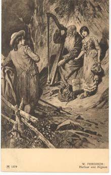 Goethe, Harfner und Mignon. Entwurf Woldemar Friedrich. F. A. Ackermann, Kunstverlag München