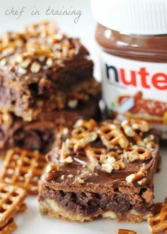 Nutella Pretzel Brownies | Chef in Training