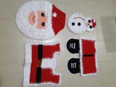 Jogo de banheiro de crochê Papai Noel  by Anete Veneski crochê.