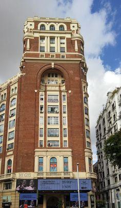 Palace Press Building, Gran Via with Plaza del Callao, Madrid, Spain