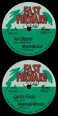A reggae record label design, Hnad drawn typography based, by Massa AquaFlow. Songs by Earl Cunningham and Crock Back from Jamaica. Track (Riddim) by Viktorious. Released by Fast Forward Sound System in Sweden. Vinyl Labels, Label Design, Reggae, Jamaica, Platforms, Sweden, Crock, How To Draw Hands, Lyrics