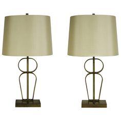 T. H. Robsjohn-Gibbings; Brass Table Lamps, 1950s.