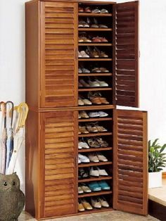 Awesome Mahogany Shoe Storage Cabinet