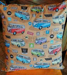 "Orange VW Volkswagon Van Bus Camper pattern Throw Pillow Cover, Retro Eclectic 24"" x 24"""