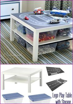 DIY IKEA Lego Lack Play Table for kids, home organization #Furniture, #Makeover