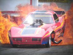 Funny Car fire burnout