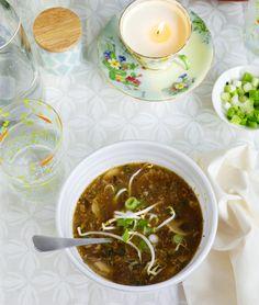 Spicy Pork, Mushroom and Kale Soup