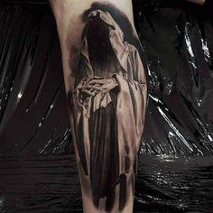 Death Tattoo on Calf by Goraj Jarek Evil Tattoos, Creepy Tattoos, Badass Tattoos, Skull Sleeve Tattoos, Tattoo Sleeve Designs, Body Art Tattoos, La Santa Muerte Tattoo, Angel Of Death Tattoo, Grim Reaper Tattoo
