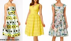 midi skater prom dress in lace or floral print yellow and pale blue mint green