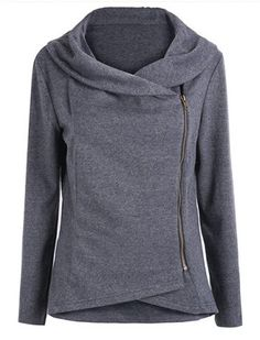 Stylish Round Neck Long Sleeve Solid Color Zippered Asymmetrical Women's Sweatshirt