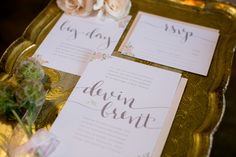 peach wedding invitations by Saffron Avenue Gold and Peach Wedding Inspiration Featured On Midwest Bride Photos By Erin Johnson Photography