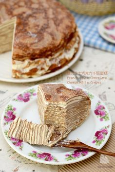 Coco's Sweet Tooth ......The Furry Bakers: 法式芝士巧克力千层蛋糕 French Style Chocolate Cheese Mille Crepes
