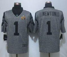 Nike Carolina Panthers #1 Cam Newton Limited Gridiron Gray 2016 Super Bowl 50 Jersey 25.0$