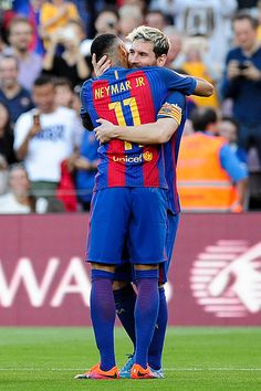 Neymar Jr and Lionel Messi of FC Barcelona celebrating the Messi goal during the Spanish League match between FC Barcelona vs RC Deportivo at Camp...
