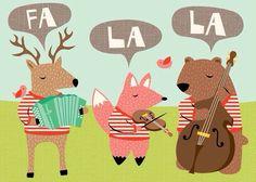 Animals playing instruments illustration