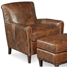 Found it at Wayfair - Imperial Leather Empire Club Chair with ottoman